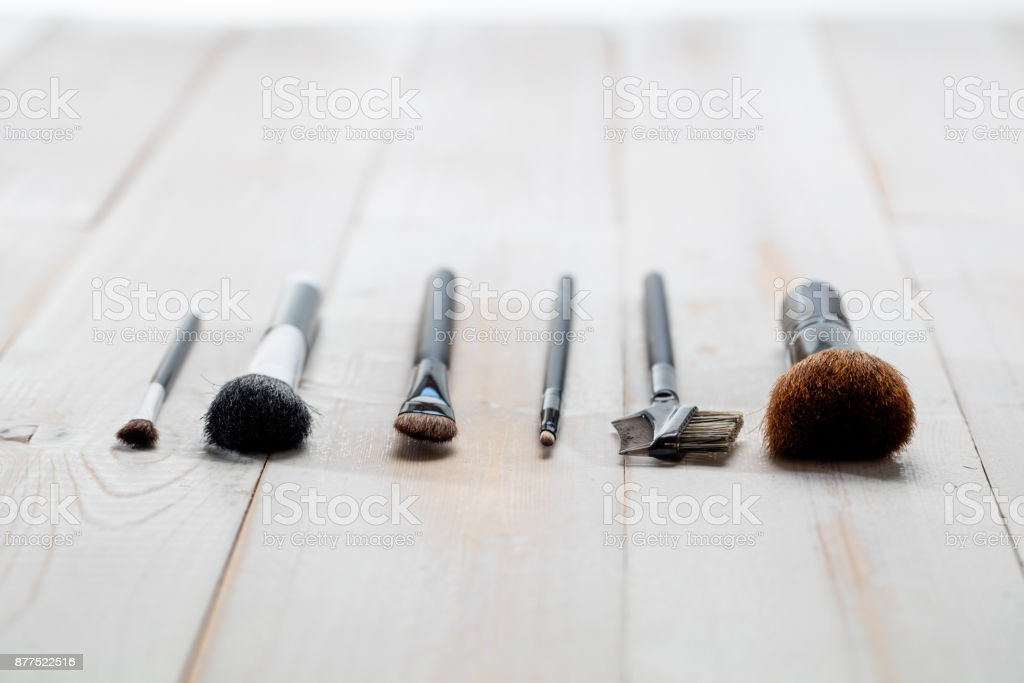 professional face and makeup brushes for artist and beauty school wallpaper stock photo