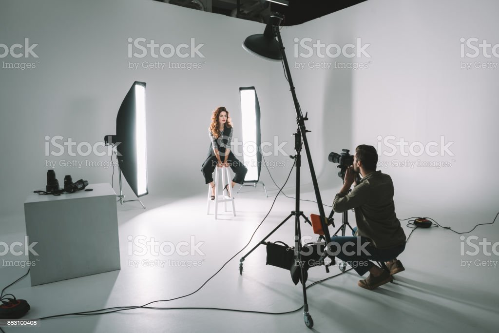 professional fashion shoot stock photo