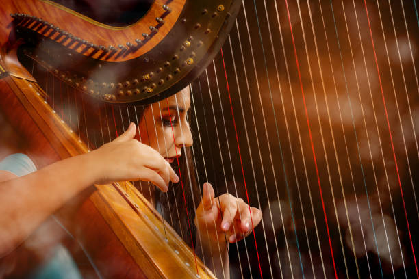 professional female harpist during performance - harpist stock photos and pictures