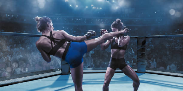 Professional Female Mixed Martial Arts Fighters Fighting In Octagon stock photo
