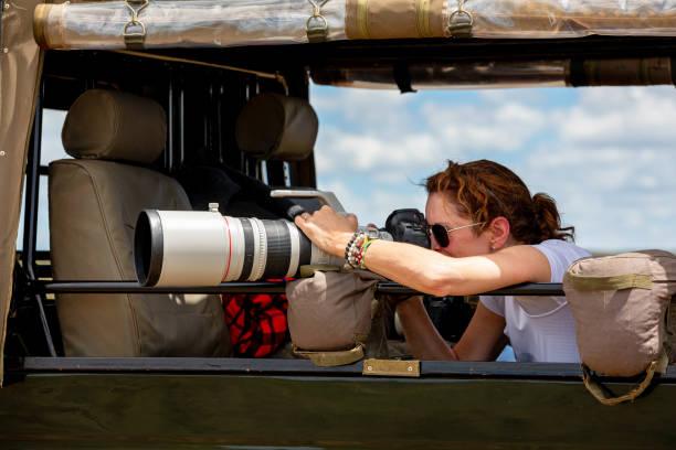 professionele vrouwelijke fotograaf op safari - telelens stockfoto's en -beelden