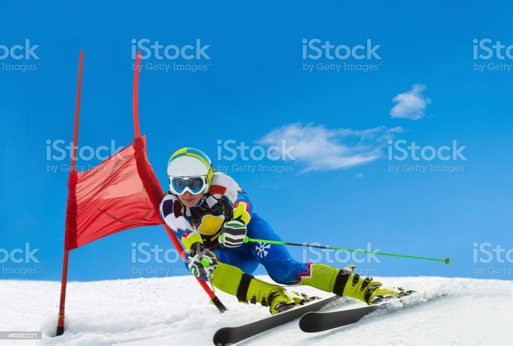 Professional Female Ski Competitor at Giant Slalom Race stock photo