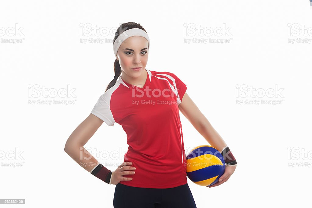 Professional female Volleyball Athlete with Ball Smiling stock photo