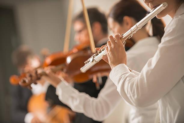 professional flute player performing - philharmonie stock-fotos und bilder