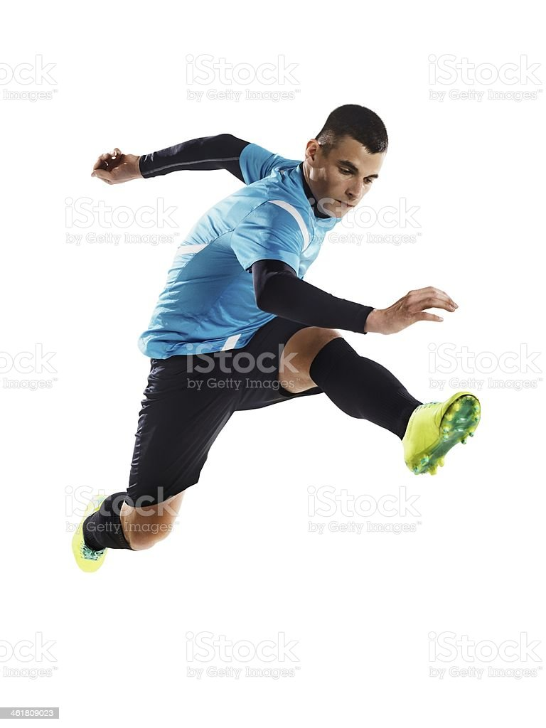 Professional football player is jumping royalty-free stock photo