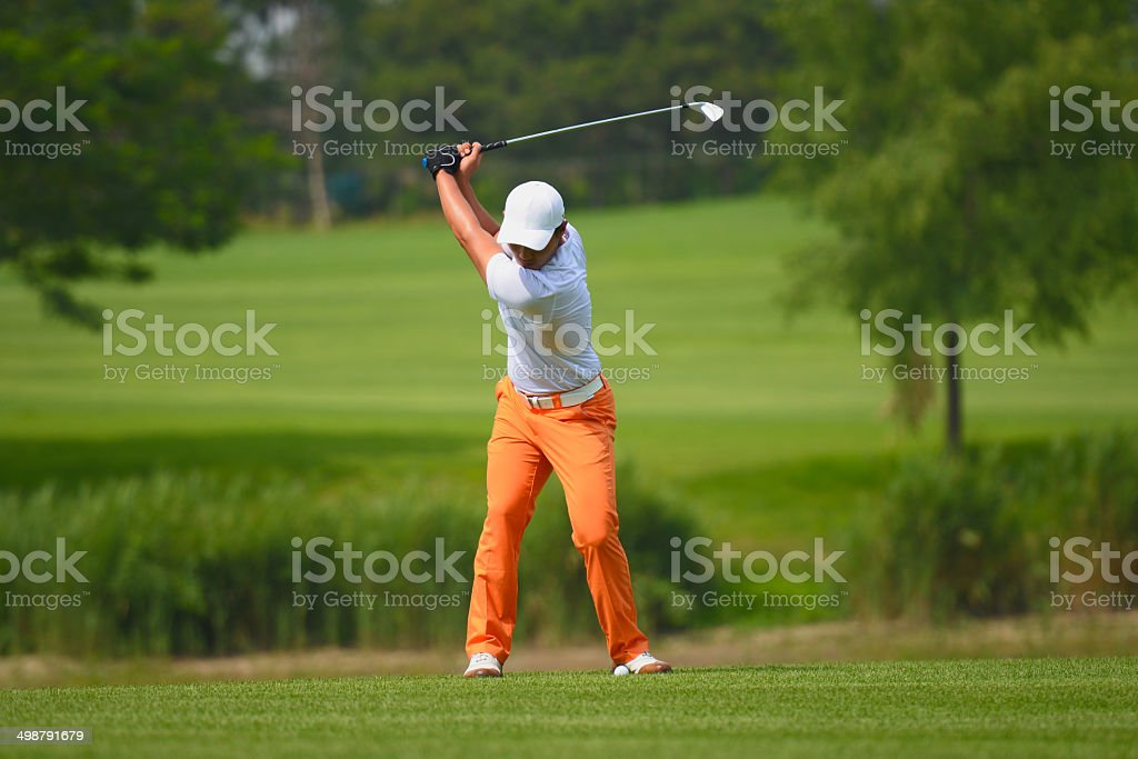 Professional Golf Swing stock photo