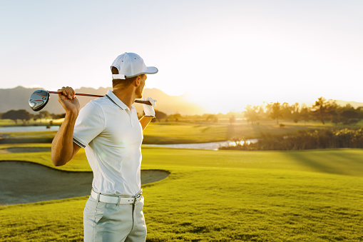 Professional golfer at golf course
