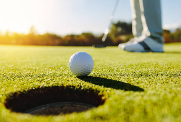 professional golfer putting ball - golf stock photos and pictures