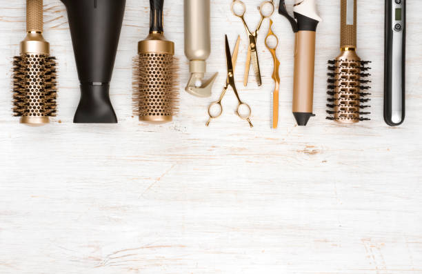 professional hair dresser tools on wooden background with copy space - beauty salon stock photos and pictures