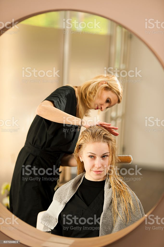 professional hair stylist at work hairdresser doing hairstyle royalty free stock photo - Professional Hair Stylist