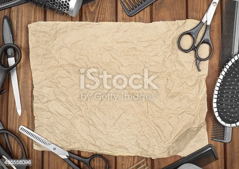 istock Professional hairdresser tools on table close-up 495558096