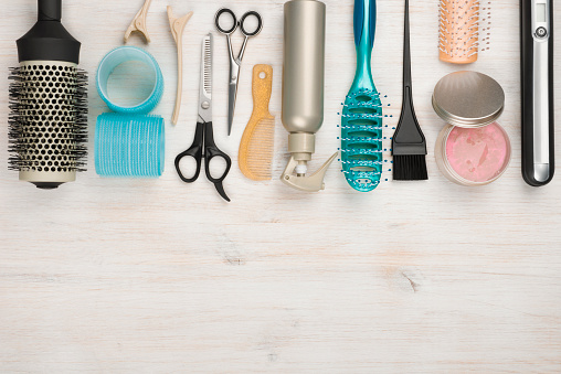 istock Professional hairdressing tools and accessories with copyspace at the bottom 501774860