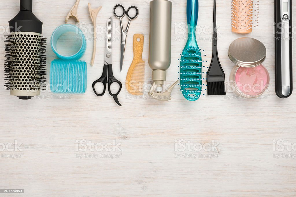 Professional hairdressing tools and accessories with copyspace at the bottom stock photo