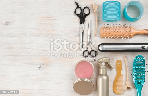 istock Professional hairdressing tools and accessories with left side copy space 501775300
