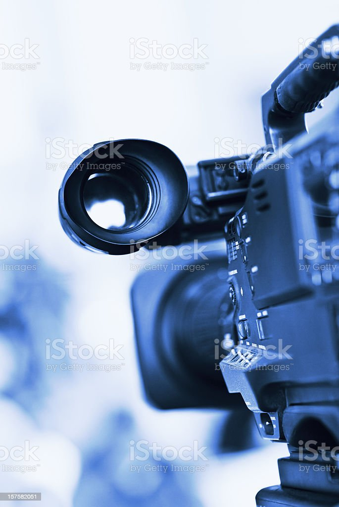 Professional HD broadcast video camera in studio stock photo
