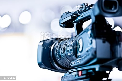 Professional HD video camera. Shallow DOF, selective focus.
