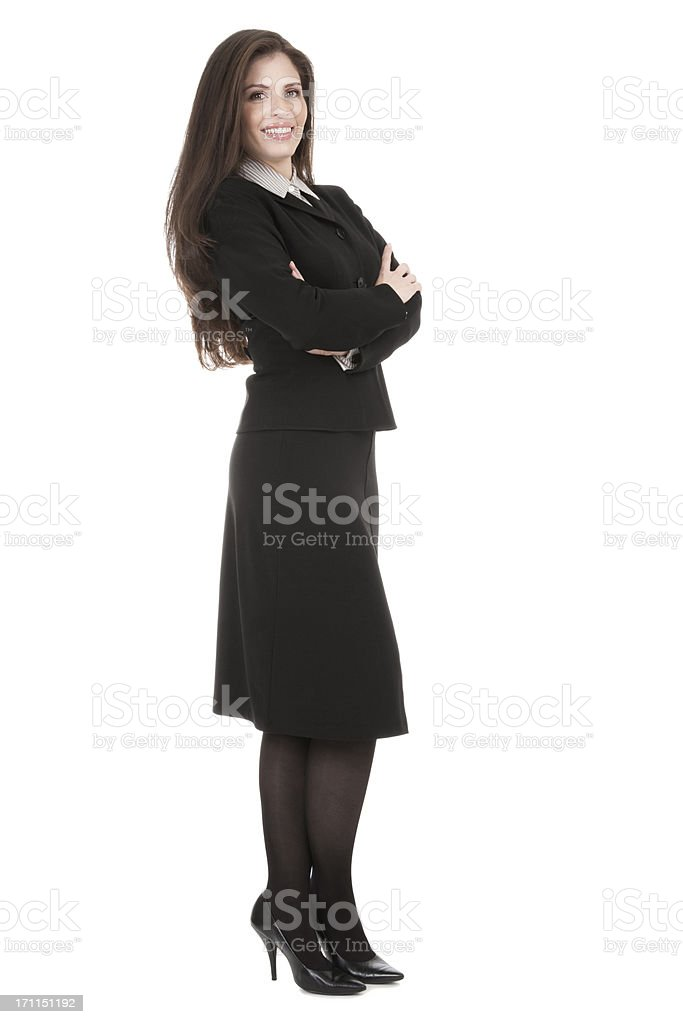 Professional Hispanic woman standing on white in a black suit royalty-free stock photo