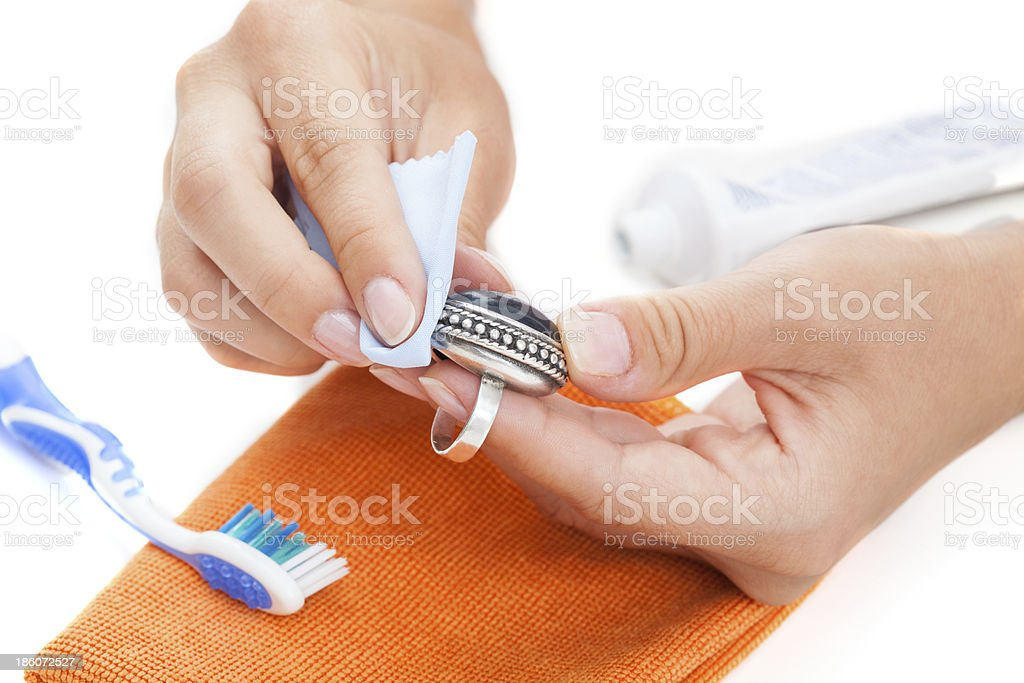 Professional jewellery cleaning stock photo