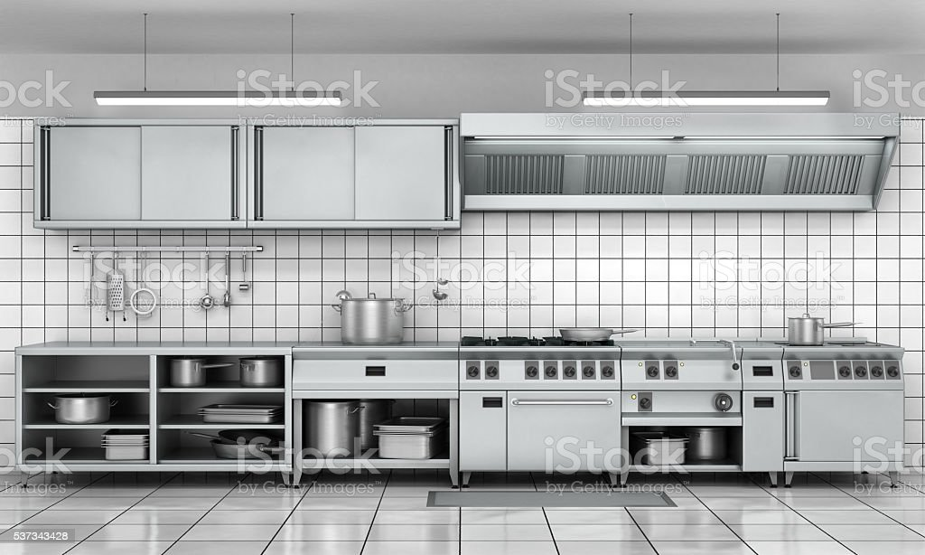 Professional kitchen facade. View surface in stainless steel. stock photo