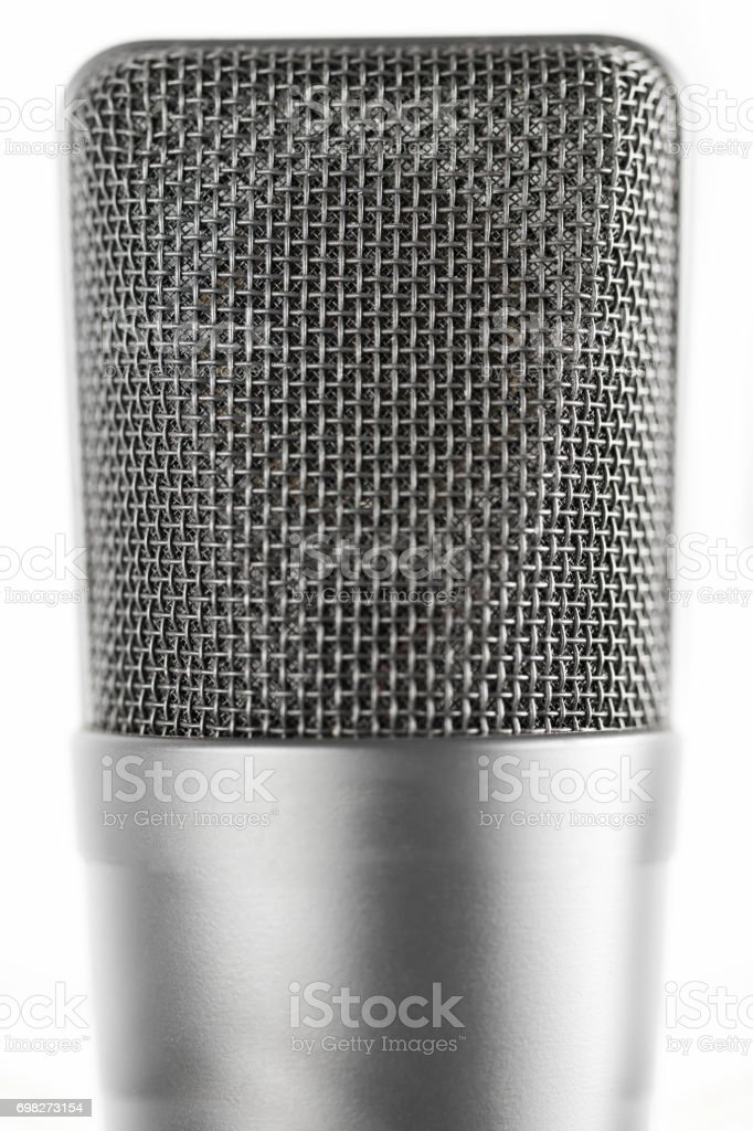 Professional large diaphragm microphone. Front view stock photo
