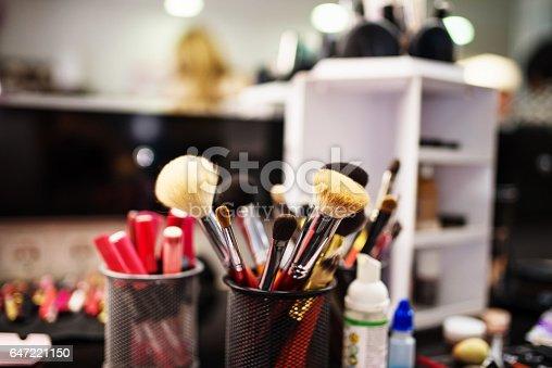 istock Professional make up brushes at beauty salon. 647221150