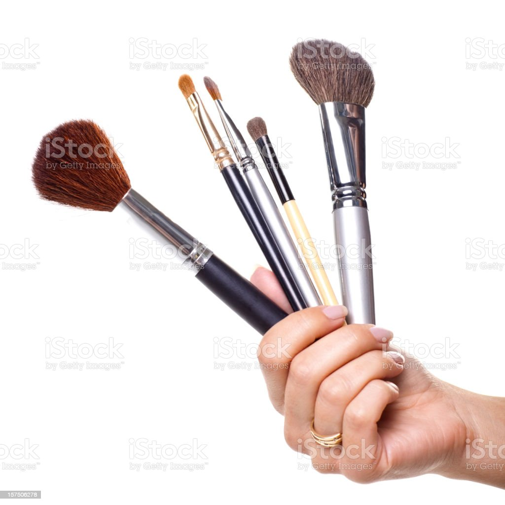 Pinceles de maquillaje profesional aislado en blanco - foto de stock