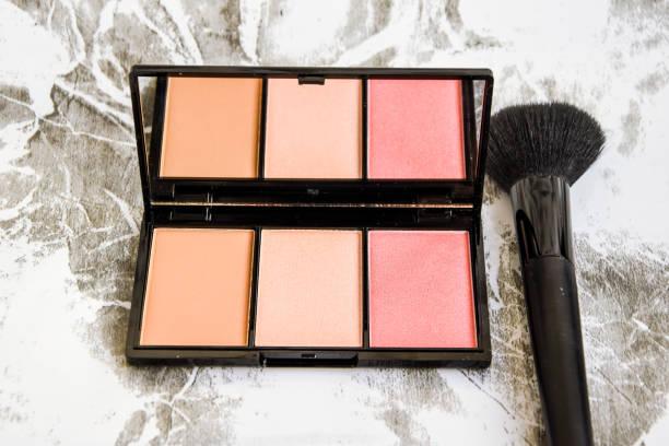 Professional make-up cosmetics, dry powder, highlighter stock photo