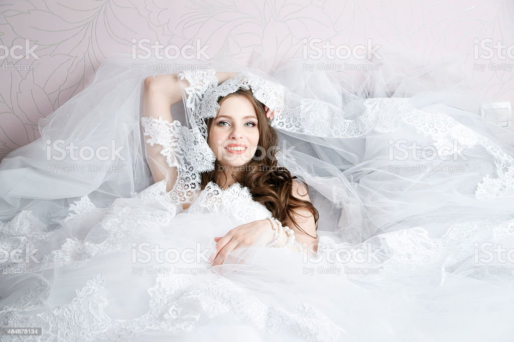 Professional makeup hairstyle bride stock photo