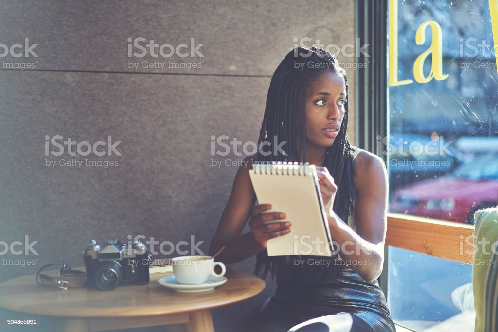 Professional Marketing Expert Noting Ideas For Developing Advertising Strategy Sitting In Cafe Interior Near Copy Space For Advertisingcreative Writer Enjoying Working Process In Coffee Shop Stock Photo Download Image Now Istock