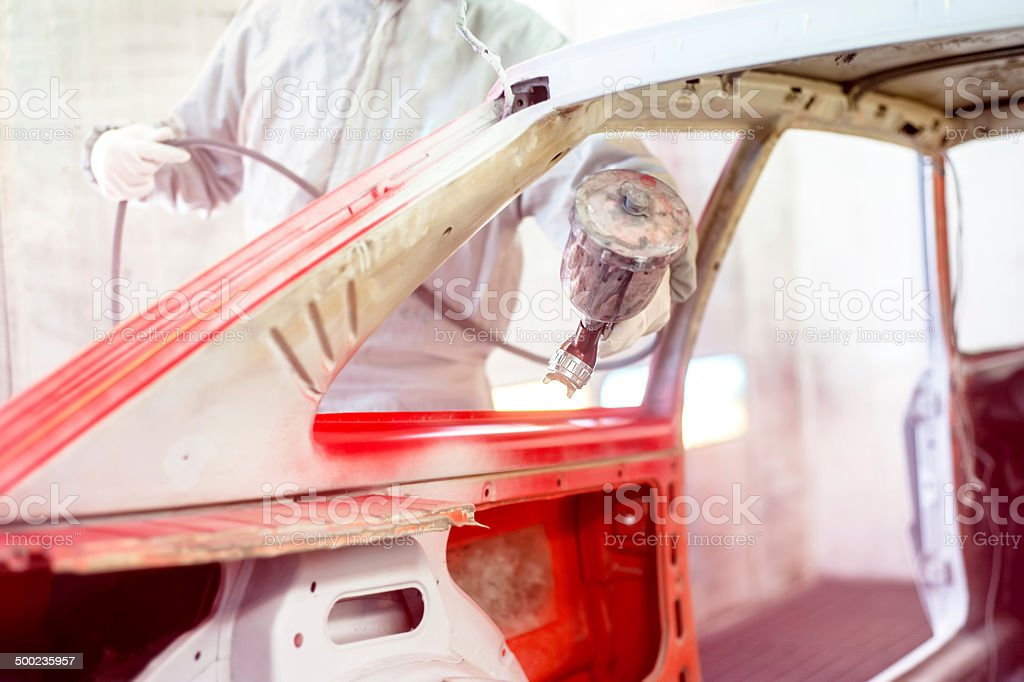 Professional mechanical engineer working in automotive industry stock photo