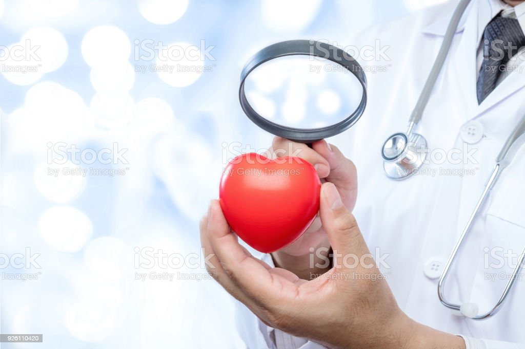 Professional medical doctor holding a magnifying glass check up on a red heart ball on blur office in the hospital and bokeh background. Concept of health care. stock photo