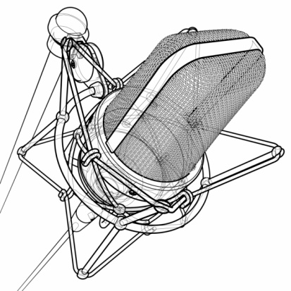 Professional Microphone 3d Wireframe Technical Draw Stock