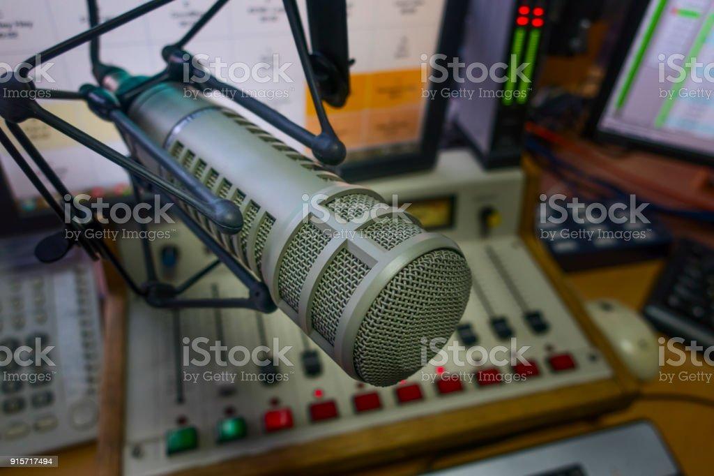 professional microphone in radio studio stock photo