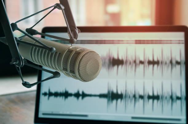 professionele microfoon - podcast stockfoto's en -beelden