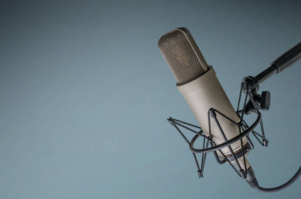 professional microphone background with a professional microphone recording studio stock pictures, royalty-free photos & images