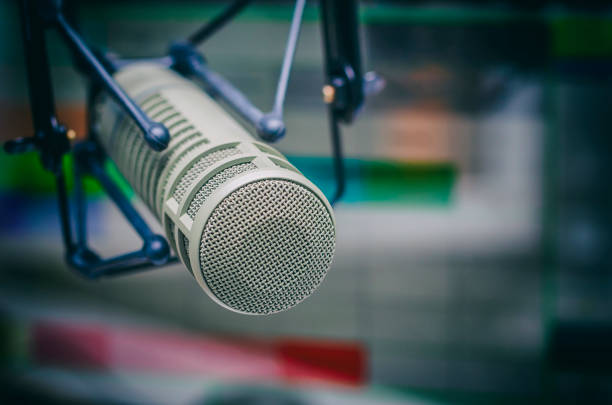 professional microphone - radio station stock photos and pictures