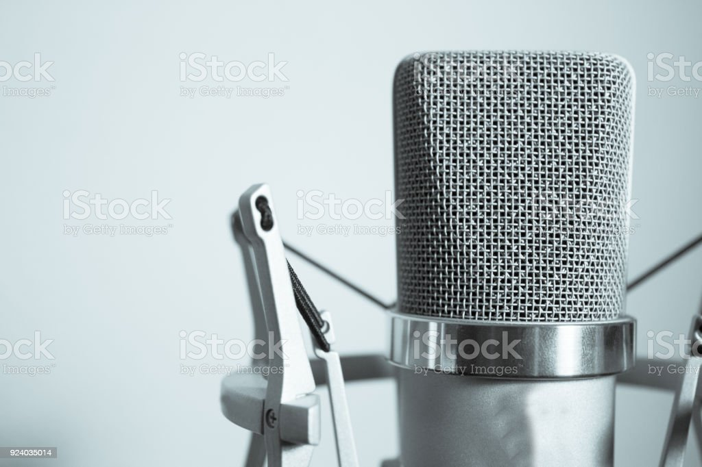 Professional microphone silver on white background stock photo