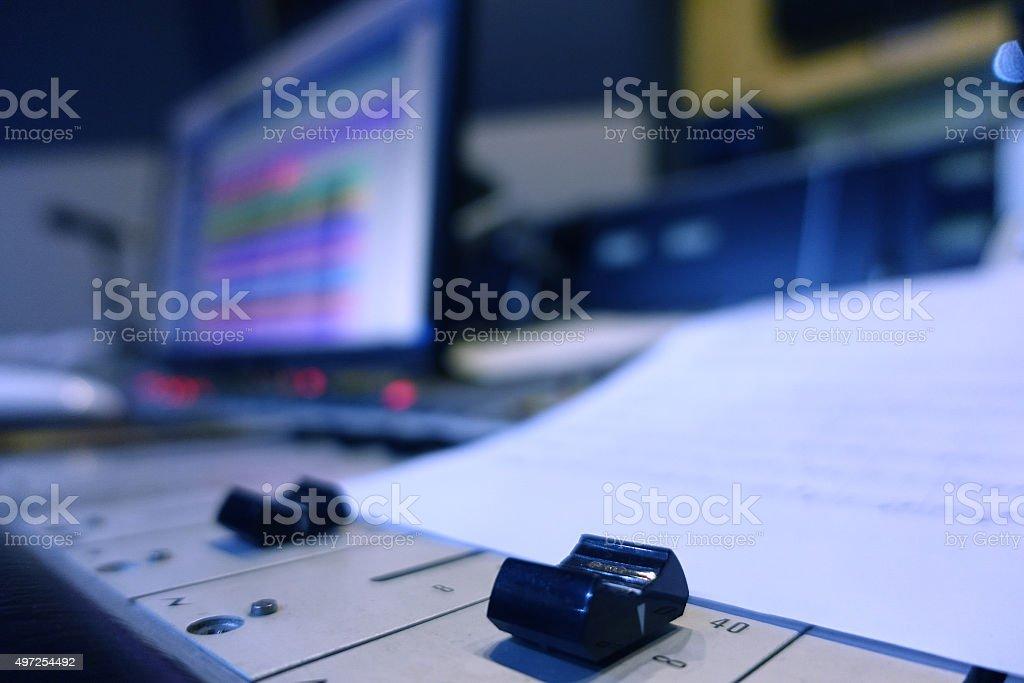 Professional Mixer In Recording Studio stock photo