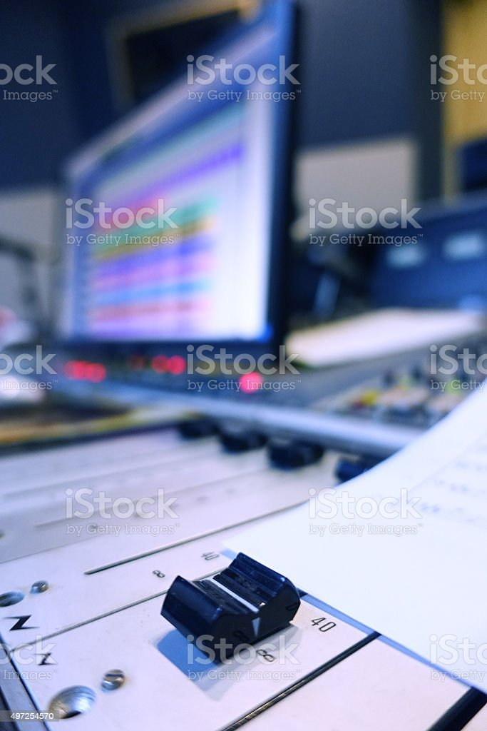 Professional Mixer In Recording Studio stock photo