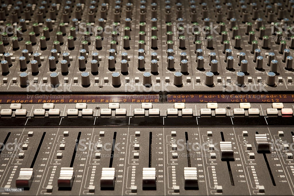 Studio mixing console board.