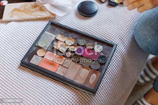 istock Professional multi-colored eye shadow for makeup. Makeup artist begins his work 1206601657