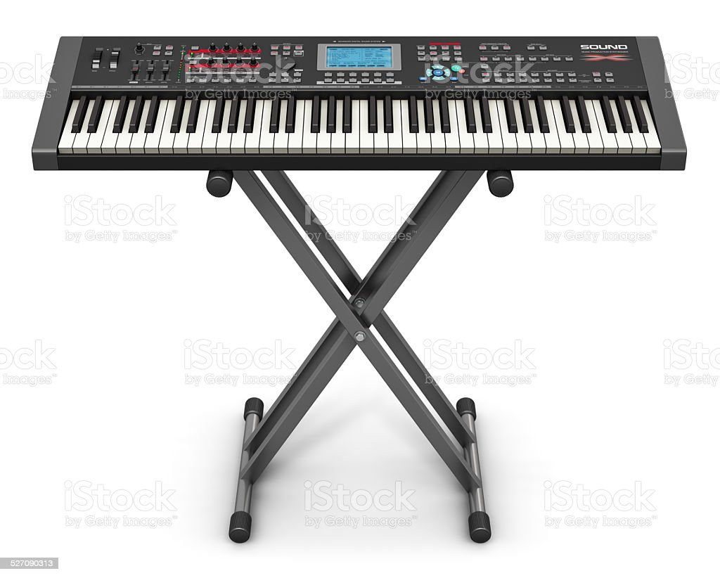 Professional musical synthesizer on stand stock photo