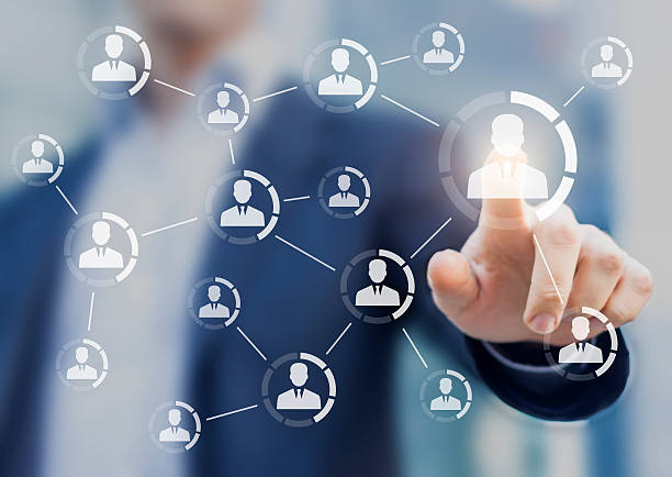 Professional networking, connections between business people, team, group of colleagues Professional networking concept with icons of business people connected together symbolizing a team or a group of colleagues profile view stock pictures, royalty-free photos & images
