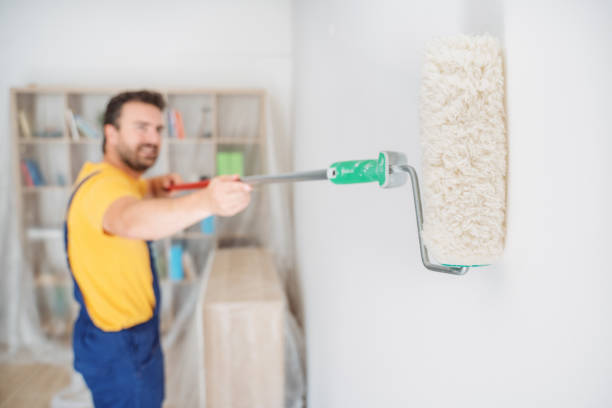 Professional painter portrait whitewashing the wall stock photo