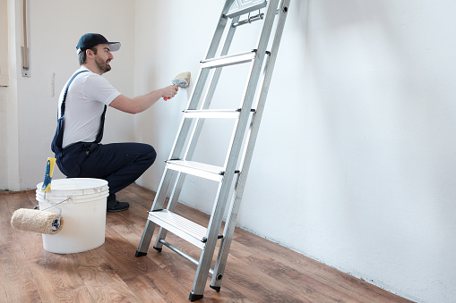 Professional painter worker is painting a wall