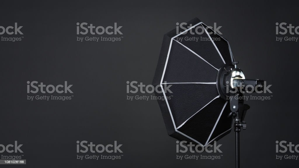 Professional photo studio soft box and flash on the tripod for...