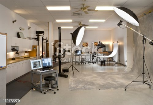 A wide angle view of a professional digital photography studio in use. The actual studio flashes were used to take this photo. Artwork on the wall is my own, Istock files 14254907 and 15378162.