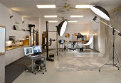 istock Professional Photo Studio with computer and lighting 172472279