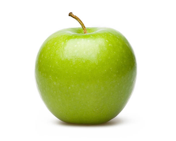 Professional Photograph of a green apple Green Apple Isolated On White Blackgroud granny smith apple stock pictures, royalty-free photos & images