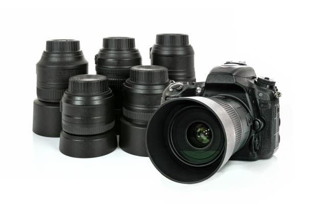 professional photographic equipment - sale lenses stock photos and pictures